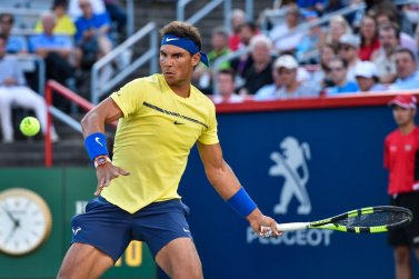 Rafael Nadal of Spain prepares to hit a return against Borna Coric of Croatia during day six of the Rogers Cup presented by National Bank at Uniprix Stadium on August 9, 2017 in Montreal, Quebec, Canada. (Aug. 8, 2017 - Source: Minas Panagiotakis/Getty Images North America)
