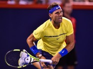 Rafael Nadal of Spain serves against Denis Shapovalov of Canadaduring day seven of the Rogers Cup presented by National Bank at Uniprix Stadium on August 10, 2017 in Montreal, Quebec, Canada. (Aug. 9, 2017 - Source: Minas Panagiotakis/Getty Images North America)