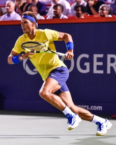 Rafael Nadal of Spain hits a return shot against Denis Shapovalov of Canada during day seven of the Rogers Cup presented by National Bank at Uniprix Stadium on August 10, 2017 in Montreal, Quebec, Canada. (Aug. 9, 2017 - Source: Minas Panagiotakis/Getty Images North America)