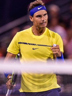 Rafael Nadal of Spain reacts after scoring a point against Denis Shapovalov of Canada during day seven of the Rogers Cup presented by National Bank at Uniprix Stadium on August 10, 2017 in Montreal, Quebec, Canada. (Aug. 9, 2017 - Source: Minas Panagiotakis/Getty Images North America)