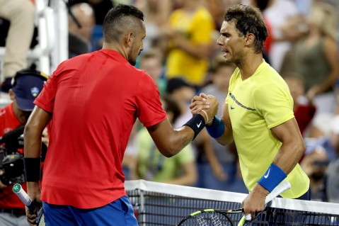 Nick Kyrgios of Australia is congratulated by Rafael Nadal of Spain after their match during day 7 of the Western & Southern Open at the Lindner Family Tennis Center on August 18, 2017 in Mason, Ohio. (Aug. 17, 2017 - Source: Matthew Stockman/Getty Images North America)