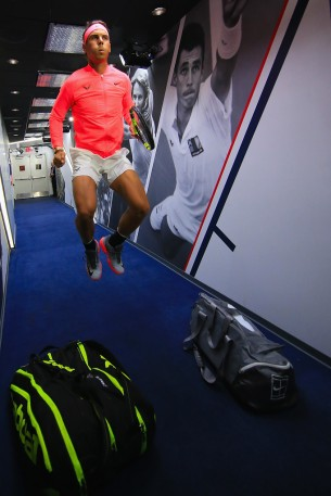 Rafael Nadal of Spain warms-up in the hallway before entering Arthur Ashe Stadium to take on Dusan Lajovic of Serbia in their first round Men's Singles match on Day Two during the 2017 US Open at the USTA Billie Jean King National Tennis Center on August 29, 2017 in the Queens borough of New York City. (Aug. 28, 2017 - Source: Chris Trotman/Getty Images North America)