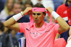 Rafael Nadal of Spain adjusts his headband during a break against Dusan Lajovic of Serbia & Montenegro during their first round Men's Singles match on Day Two of the 2017 US Open at the USTA Billie Jean King National Tennis Center on August 29, 2017 in the Flushing neighborhood of the Queens borough of New York City. (Aug. 28, 2017 - Source: Richard Heathcote/Getty Images North America)