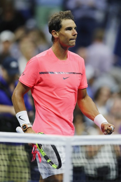 Rafael Nadal of Spain celebrates defeating Dusan Lajovic of Serbia & Montenegro after their first round Men's Singles match on Day Two of the 2017 US Open at the USTA Billie Jean King National Tennis Center on August 29, 2017 in the Flushing neighborhood of the Queens borough of New York City. (Aug. 28, 2017 - Source: Elsa/Getty Images North America)
