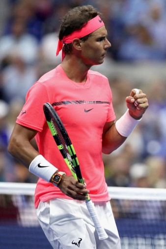 Rafael Nadal of Spain reacts against Dusan Lajovic of Serbia & Montenegro during their first round Men's Singles match on Day Two of the 2017 US Open at the USTA Billie Jean King National Tennis Center on August 29, 2017 in the Flushing neighborhood of the Queens borough of New York City. (Aug. 28, 2017 - Source: Matthew Stockman/Getty Images North America)