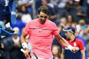 Spain's Rafael Nadal celebrates after defeating Serbia's Dusan Lajovic during their 2017 US Open Men's Singles match at the USTA Billie Jean King National Tennis Center in New York on August 29, 2017. / AFP PHOTO / Jewel SAMAD (Aug. 28, 2017 - Source: AFP)