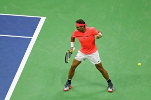 Rafael Nadal of Spain reacts against Dusan Lajovic of Serbia & Montenegro during their first round Men's Singles match on Day Two of the 2017 US Open at the USTA Billie Jean King National Tennis Center on August 29, 2017 in the Flushing neighborhood of the Queens borough of New York City. (Aug. 28, 2017 - Source: Richard Heathcote/Getty Images North America)