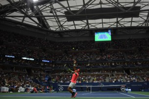 Spain's Rafael Nadal serves to Serbia's Dusan Lajovic during their Qualifying Men's Singles match at the 2017 US Open Tennis Tournament on August 29, 2017 in New York. / AFP PHOTO / Eduardo Munoz Alvarez (Aug. 28, 2017 - Source: AFP)