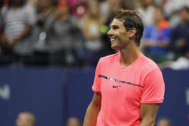 Rafael Nadal of Spain celebrates defeating Dusan Lajovic of Serbia & Montenegro after their first round Men's Singles match on Day Two of the 2017 US Open at the USTA Billie Jean King National Tennis Center on August 29, 2017 in the Flushing neighborhood of the Queens borough of New York City. (Aug. 28, 2017 - Source: Abbie Parr/Getty Images North America)