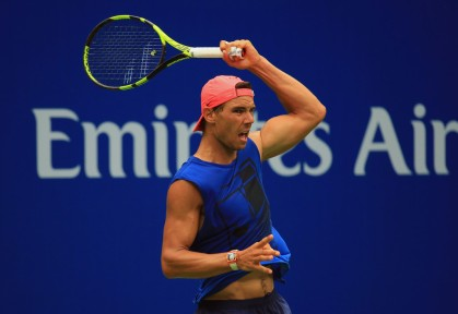 Rafael Nadal of Spain plays a shot while practicing prior to the start of the 2017 US Open at the USTA Billie Jean King National Tennis Center on August 25, 2017 in the Queens borough of New York City. (Aug. 24, 2017 - Source: Chris Trotman/Getty Images North America)
