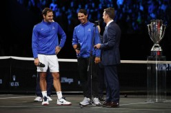 Roger Federer of Team Europe celebrates with Rafael Nadal after winning the Laver Cup on the final day of the Laver cup on September 24, 2017 in Prague, Czech Republic. The Laver Cup consists of six European players competing against their counterparts from the rest of the World. Europe will be captained by Bjorn Borg and John McEnroe will captain the Rest of the World team. The event runs from 22-24 September. (Sept. 23, 2017 - Source: Julian Finney/Getty Images Europe)