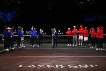 Rafael Nadal of Team Europe celebrates after winning the Laver Cup on the final day of the Laver cup on September 24, 2017 in Prague, Czech Republic. The Laver Cup consists of six European players competing against their counterparts from the rest of the World. Europe will be captained by Bjorn Borg and John McEnroe will captain the Rest of the World team. The event runs from 22-24 September. (Sept. 23, 2017 - Source: Clive Brunskill/Getty Images Europe)