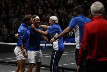 Roger Federer of Team Europe celebrates with Rafael Nadal and Bjorn Borg of Team Europe after winning the Laver Cup on match point during his mens singles match against Nick Kyrgios of Team World on the final day of the Laver cup on September 24, 2017 in Prague, Czech Republic. The Laver Cup consists of six European players competing against their counterparts from the rest of the World. Europe will be captained by Bjorn Borg and John McEnroe will captain the Rest of the World team. The event runs from 22-24 September. (Sept. 23, 2017 - Source: Julian Finney/Getty Images Europe)