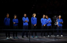 (L-R) Tomas Berdych, Dominic Thiem, Marin Cilic, Alexander Zverev, Roger Federer, Rafael Nadal and Bjorn Borg of Team Europe Line up during previews ahead of the Laver Cup on September 21, 2017 in Prague, Czech Republic. The Laver Cup consists of six European players competing against their counterparts from the rest of the World. Europe will be captained by Bjorn Borg and John McEnroe will captain the Rest of the World team. The event runs from 22-24 September. (Sept. 20, 2017 - Source: Clive Brunskill/Getty Images Europe)