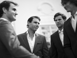 Dominic Thiem and Rafael Nadal of Team Europe look on during previews on September 20, 2017 in Prague, Czech Republic. (Sept. 19, 2017 - Source: Julian Finney/Getty Images Europe)