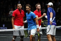 Nick Kyrgios and Jack Sock of Team World celebrate at the nate after winning there doubles match against Tomas Berdych and Rafael Nadal of Team Europe on the first day of the Laver Cup on September 22, 2017 in Prague, Czech Republic. The Laver Cup consists of six European players competing against their counterparts from the rest of the World. Europe will be captained by Bjorn Borg and John McEnroe will captain the Rest of the World team. The event runs from 22-24 September. (Sept. 21, 2017 - Source: Clive Brunskill/Getty Images Europe)