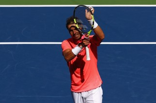 Rafael Nadal of Spain celebrates defeating Alexandr Dolgopolov of Ukraine during their fourth round Men's Singles match on Day Eight of the 2017 US Open at the USTA Billie Jean King National Tennis Center on September 4, 2017 in the Flushing neighborhood of the Queens borough of New York City. (Sept. 3, 2017 - Source: Al Bello/Getty Images North America)