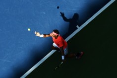 Spain's Rafael Nadal serves the ball to Ukraine's Alexandr Dolgopolov during their 2017 US Open Men's Singles Round 4 match at the USTA Billie Jean King National Tennis Center in New York on September 4, 2017 / AFP PHOTO / Jewel SAMAD