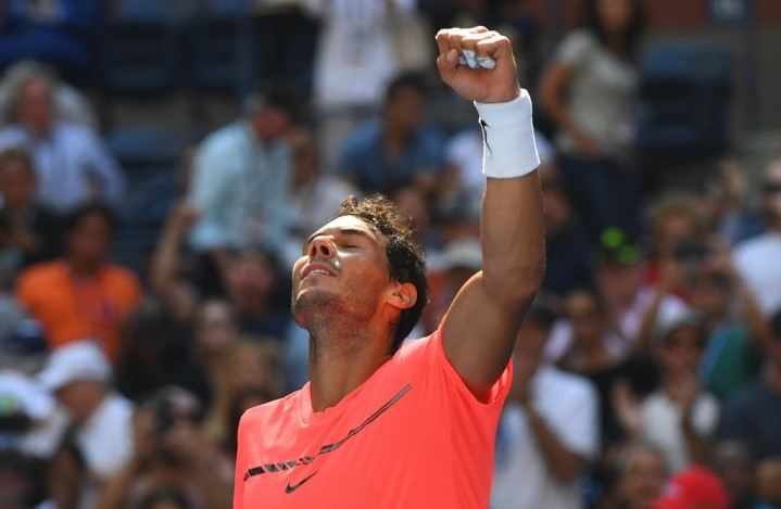 Rafael Nadal of Spain celebrates his victory over Alexandr Dolgopolov of Ukraine during their Round 4, US Open 2017, Men's Singles match at the USTA Billie Jean King National Tennis Center on September 4, 2017, in New York..Nadal advanced to the US Open quarterfinals, winning 6-2, 6-4, 6-1. / AFP PHOTO / TIMOTHY A. CLARY