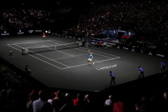 Rafael Nadal of Team Europe serves during his singles match against Jack Sock of Team World on Day 2 of the Laver Cup on September 23, 2017 in Prague, Czech Republic. The Laver Cup consists of six European players competing against their counterparts from the rest of the World. Europe will be captained by Bjorn Borg and John McEnroe will captain the Rest of the World team. The event runs from 22-24 September. (Sept. 22, 2017 - Source: Julian Finney/Getty Images Europe)
