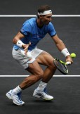 Rafael Nadal of Team Europe plays a volley during his mens singles match against John Isner of Team World on the final day of the Laver cup on September 24, 2017 in Prague, Czech Republic. The Laver Cup consists of six European players competing against their counterparts from the rest of the World. Europe will be captained by Bjorn Borg and John McEnroe will captain the Rest of the World team. The event runs from 22-24 September. (Sept. 23, 2017 - Source: Julian Finney/Getty Images Europe)