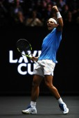 Rafael Nadal of Team Europe celebrates winning a point during his mens singles match against John Isner of Team World on the final day of the Laver cup on September 24, 2017 in Prague, Czech Republic. The Laver Cup consists of six European players competing against their counterparts from the rest of the World. Europe will be captained by Bjorn Borg and John McEnroe will captain the Rest of the World team. The event runs from 22-24 September. (Sept. 23, 2017 - Source: Clive Brunskill/Getty Images Europe)