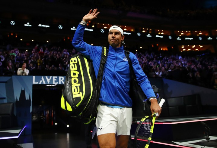 Rafael Nadal enters the arena playing with Tomas Berdych of Team Europe ahead of there doubles match against Nick Kyrgios ans Jack Sock of Team World on the first day of the Laver Cup on September 22, 2017 in Prague, Czech Republic. The Laver Cup consists of six European players competing against their counterparts from the rest of the World. Europe will be captained by Bjorn Borg and John McEnroe will captain the Rest of the World team. The event runs from 22-24 September. (Sept. 21, 2017 - Source: Clive Brunskill/Getty Images Europe)