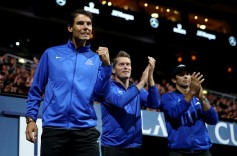 Rafael Nadal, Thomas Enqvist and Fernando Verdasco of Team Europe celebrate as they watch the singles match between Dominic Thiem of Team Europe and John Isner of Team World on the first day of the Laver Cup on September 22, 2017 in Prague, Czech Republic. The Laver Cup consists of six European players competing against their counterparts from the rest of the World. Europe will be captained by Bjorn Borg and John McEnroe will captain the Rest of the World team. The event runs from 22-24 September. (Sept. 21, 2017 - Source: Julian Finney/Getty Images Europe)