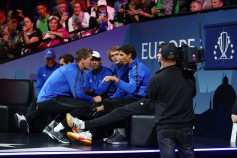 Rafael Nadal and Thomas Enqvist of Team Europe discuss tactics on the first day of the Laver Cup on September 22, 2017 in Prague, Czech Republic. The Laver Cup consists of six European players competing against their counterparts from the rest of the World. Europe will be captained by Bjorn Borg and John McEnroe will captain the Rest of the World team. The event runs from 22-24 September. (Sept. 21, 2017 - Source: Clive Brunskill/Getty Images Europe)