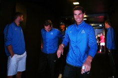 Rafael Nadal of Team Europe enters the arena on the first day of the Laver Cup on September 22, 2017 in Prague, Czech Republic. The Laver Cup consists of six European players competing against their counterparts from the rest of the World. Europe will be captained by Bjorn Borg and John McEnroe will captain the Rest of the World team. The event runs from 22-24 September. (Sept. 21, 2017 - Source: Clive Brunskill/Getty Images Europe)