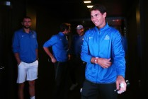 Rafael Nadal of Team Europe waits to enter the arena on the first day of the Laver Cup on September 22, 2017 in Prague, Czech Republic. The Laver Cup consists of six European players competing against their counterparts from the rest of the World. Europe will be captained by Bjorn Borg and John McEnroe will captain the Rest of the World team. The event runs from 22-24 September. (Sept. 21, 2017 - Source: Clive Brunskill/Getty Images Europe)