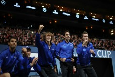 Rafael Nadal, Tomas Berdych, Alexander Zverev and Roger Federer and Thomas Enqvist of Team Europe celebrate as they watch the singles match between Dominic Thiem of Team Europe and John Isner of Team World on the first day of the Laver Cup on September 22, 2017 in Prague, Czech Republic. The Laver Cup consists of six European players competing against their counterparts from the rest of the World. Europe will be captained by Bjorn Borg and John McEnroe will captain the Rest of the World team. The event runs from 22-24 September. (Sept. 21, 2017 - Source: Julian Finney/Getty Images Europe)
