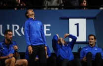 Marin Cilic, Rafael Nadal, Alexander Zverev and Roger Federer of Team Europe react as they watch the singles match between Dominic Thiem of Team Europe and John Isner of Team World on the first day of the Laver Cup on September 22, 2017 in Prague, Czech Republic. The Laver Cup consists of six European players competing against their counterparts from the rest of the World. Europe will be captained by Bjorn Borg and John McEnroe will captain the Rest of the World team. The event runs from 22-24 September. (Sept. 21, 2017 - Source: Clive Brunskill/Getty Images Europe)