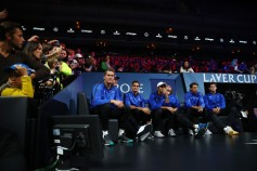 Team Europe are introduced to the crowd on the first day of the Laver Cup on September 22, 2017 in Prague, Czech Republic. The Laver Cup consists of six European players competing against their counterparts from the rest of the World. Europe will be captained by Bjorn Borg and John McEnroe will captain the Rest of the World team. The event runs from 22-24 September. (Sept. 21, 2017 - Source: Clive Brunskill/Getty Images Europe)