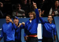 Rafael Nadal, Tomas Berdych, Alexander Zverev and Roger Federer of Team Europe celebrate as they watch the singles match between Dominic Thiem of Team Europe and John Isner of Team World on the first day of the Laver Cup on September 22, 2017 in Prague, Czech Republic. The Laver Cup consists of six European players competing against their counterparts from the rest of the World. Europe will be captained by Bjorn Borg and John McEnroe will captain the Rest of the World team. The event runs from 22-24 September. (Sept. 21, 2017 - Source: Clive Brunskill/Getty Images Europe)