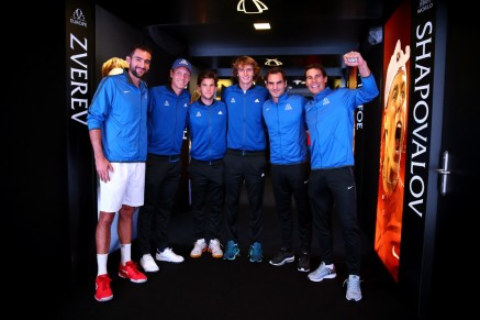 Marin Cilic, Tomas Berdych, Dominic Thiem, Alexander Zverev, Roger Federer and Rafael Nadal of Team Europe wait to enter the arena on the first day of the Laver Cup on September 22, 2017 in Prague, Czech Republic. The Laver Cup consists of six European players competing against their counterparts from the rest of the World. Europe will be captained by Bjorn Borg and John McEnroe will captain the Rest of the World team. The event runs from 22-24 September. (Sept. 21, 2017 - Source: Clive Brunskill/Getty Images Europe)