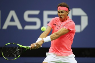 Rafael Nadal of Spain returns a shot against Andrey Rublev of Russia during their Men's Singles Quarterfinal match on Day Ten of the 2017 US Open at the USTA Billie Jean King National Tennis Center on September 6, 2017 in the Flushing neighborhood of the Queens borough of New York City. (Sept. 5, 2017 - Source: Clive Brunskill/Getty Images North America)