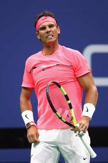 Rafael Nadal of Spain reacts against Andrey Rublev of Russia during their Men's Singles Quarterfinal match on Day Ten of the 2017 US Open at the USTA Billie Jean King National Tennis Center on September 6, 2017 in the Flushing neighborhood of the Queens borough of New York City. (Sept. 5, 2017 - Source: Clive Brunskill/Getty Images North America)