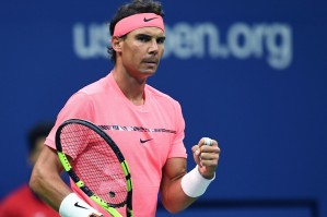 Spain's Rafael Nadal wins a point against Russia's Andrey Rublev during their 2017 US Open Men's Singles Quarterfinal match at the USTA Billie Jean King National Tennis Center in New York on September 6, 2017. / AFP PHOTO / Jewel SAMAD