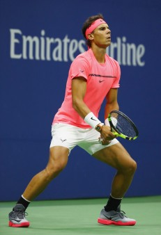 Rafael Nadal of Spain returns a shot against Andrey Rublev of Russia during their Men's Singles Quarterfinal match on Day Ten of the 2017 US Open at the USTA Billie Jean King National Tennis Center on September 6, 2017 in the Flushing neighborhood of the Queens borough of New York City. (Sept. 5, 2017 - Source: Al Bello/Getty Images North America)