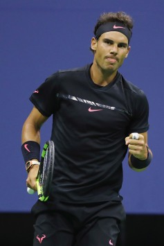 Rafael Nadal of Spain celebrates a point in the first set against Juan Martin del Potro of Argentina during their Men's Singles Semifinal match on Day Twelve of the 2017 US Open at the USTA Billie Jean King National Tennis Center on September 8, 2017 in the Flushing neighborhood of the Queens borough of New York City. (Sept. 7, 2017 - Source: Elsa/Getty Images North America)