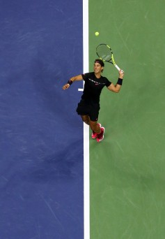 Rafael Nadal of Spain serves against Juan Martin del Potro of Argentina during their Men's Singles Semifinal match on Day Twelve of the 2017 US Open at the USTA Billie Jean King National Tennis Center on September 8, 2017 in the Flushing neighborhood of the Queens borough of New York City. (Sept. 7, 2017 - Source: Al Bello/Getty Images North America)