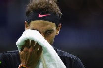 Rafael Nadal of Spain wipes his face during a break against Juan Martin del Potro of Argentina in their Men's Singles Semifinal match on Day Twelve of the 2017 US Open at the USTA Billie Jean King National Tennis Center on September 8, 2017 in the Flushing neighborhood of the Queens borough of New York City. (Sept. 7, 2017 - Source: Clive Brunskill/Getty Images North America)