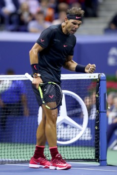 Rafael Nadal of Spain celebrates after winning the third set against Juan Martin del Potro of Argentina during their Men's Singles Semifinal match on Day Twelve of the 2017 US Open at the USTA Billie Jean King National Tennis Center on September 8, 2017 in the Flushing neighborhood of the Queens borough of New York City. (Sept. 7, 2017 - Source: Clive Brunskill/Getty Images North America)