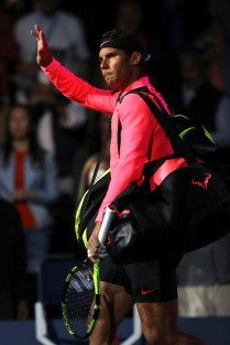 Rafael Nadal of Spain waves to the crowd prior to his Men's Singles Semifinal match against Juan Martin del Potro of Argentina on Day Twelve of the 2017 US Open at the USTA Billie Jean King National Tennis Center on September 8, 2017 in the Flushing neighborhood of the Queens borough of New York City. (Sept. 7, 2017 - Source: Elsa/Getty Images North America)
