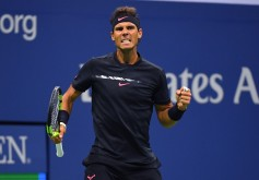 Rafael Nadal of Spain reacts on court against Juan Martin del Potro of Argentina during their Men's semifinal singles match of the US Open 2017 at the USTA Billie Jean King National Tennis Center on September 8, 2017 in New York. / AFP PHOTO / TIMOTHY A. CLARY