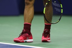 A detailed view of the sneakers of Rafael Nadal of Spain as he serves against Juan Martin del Potro of Argentina during their Men's Singles Semifinal match on Day Twelve of the 2017 US Open at the USTA Billie Jean King National Tennis Center on September 8, 2017 in the Flushing neighborhood of the Queens borough of New York City. (Sept. 7, 2017 - Source: Elsa/Getty Images North America)