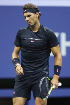Rafael Nadal of Spain reacts against Juan Martin del Potro of Argentina during their Men's Singles Semifinal match on Day Twelve of the 2017 US Open at the USTA Billie Jean King National Tennis Center on September 8, 2017 in the Flushing neighborhood of the Queens borough of New York City. (Sept. 7, 2017 - Source: Elsa/Getty Images North America)