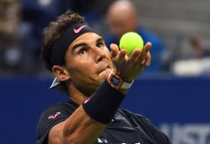 Rafael Nadal of Spain serves against Juan Martin del Potro of Argentina during their Men's semifinal singles match of the US Open 2017 at the USTA Billie Jean King National Tennis Center on September 8, 2017 in New York. / AFP PHOTO / TIMOTHY A. CLARY