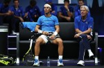 Rafael Nadal of Team Europe and Bjorn Borg, Captain of Team Europe d during his singles match against Jack Sock of Team World on Day 2 of the Laver Cup on September 23, 2017 in Prague, Czech Republic. The Laver Cup consists of six European players competing against their counterparts from the rest of the World. Europe will be captained by Bjorn Borg and John McEnroe will captain the Rest of the World team. The event runs from 22-24 September. (Sept. 22, 2017 - Source: Julian Finney/Getty Images Europe)